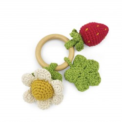 spring - teether & rattle 100% organic coton