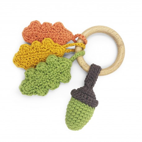 autumn - teether & rattle 100% organic coton