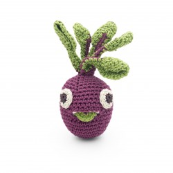 Betty Mini Beetroot - baby rattle 100% organic coton