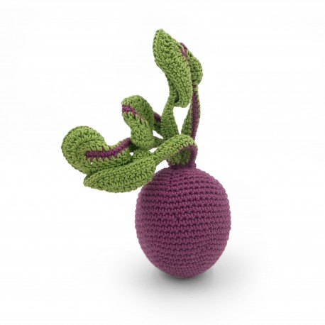 Beetroot - baby rattle 100% organic coton