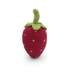 Strawberry  - baby rattle 100% organic coton