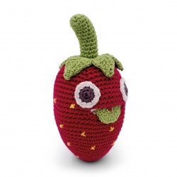 Billy Strawberry - baby rattle 100% organic coton