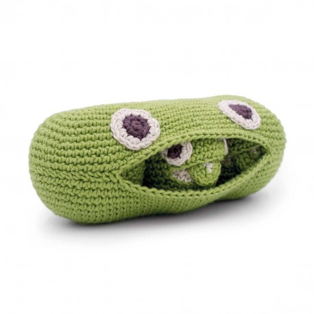 The Green Peas Familly - baby rattle 100% organic coton